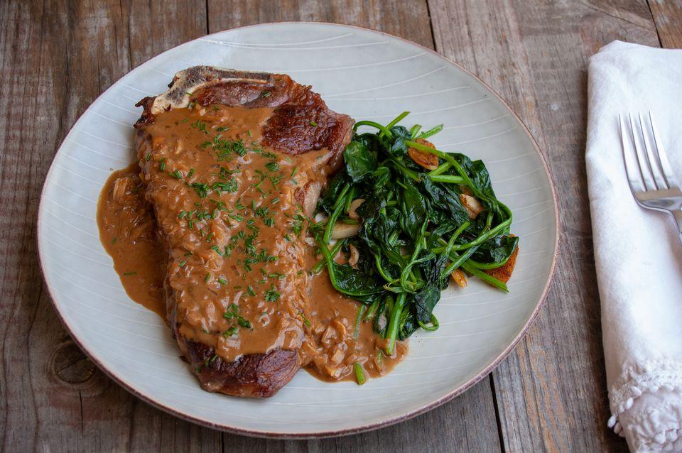 steak diane with garlicky spinach