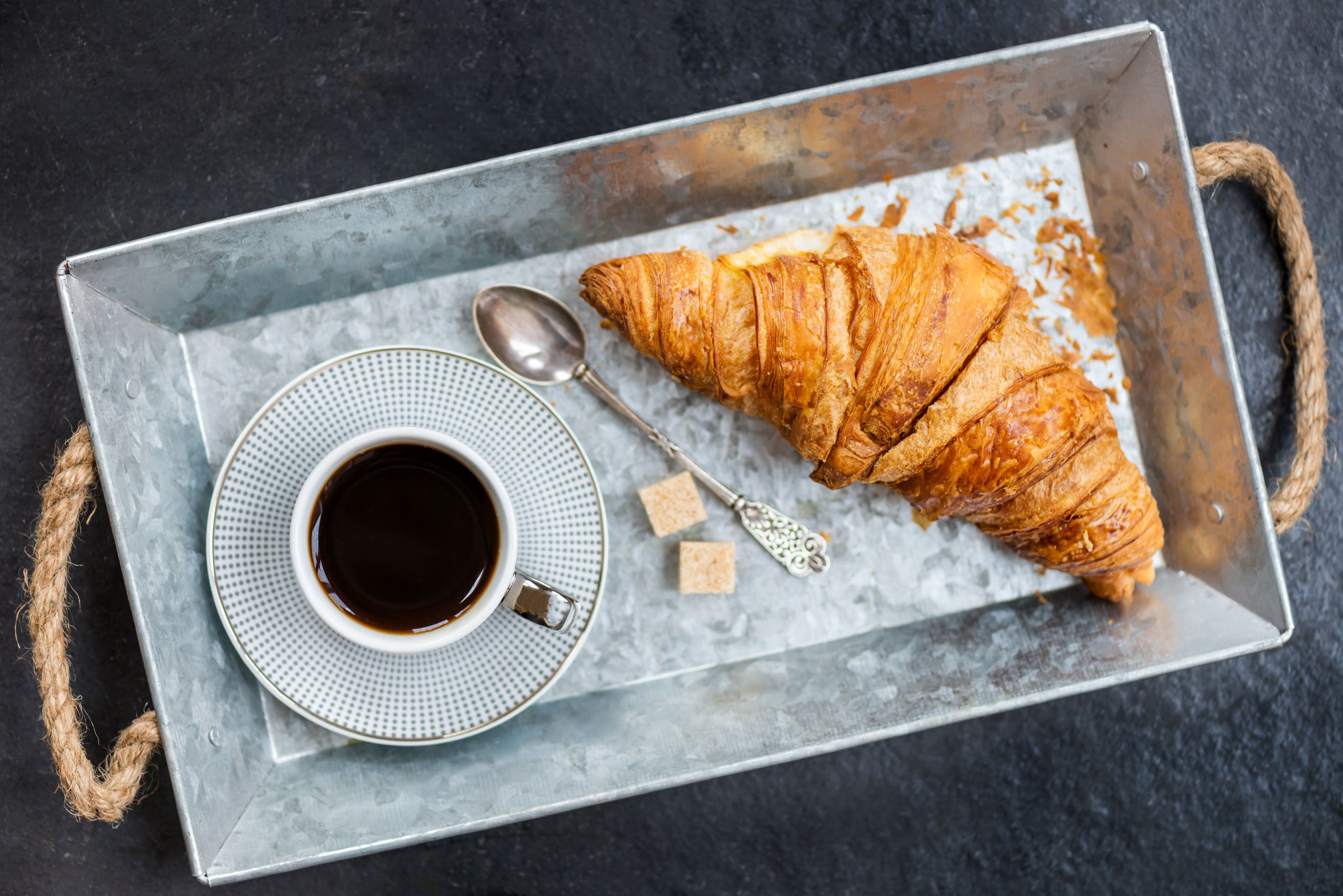 Fresh Croissant, Cup of Coffee