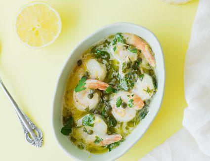 Lemon caper sauce with shrimp