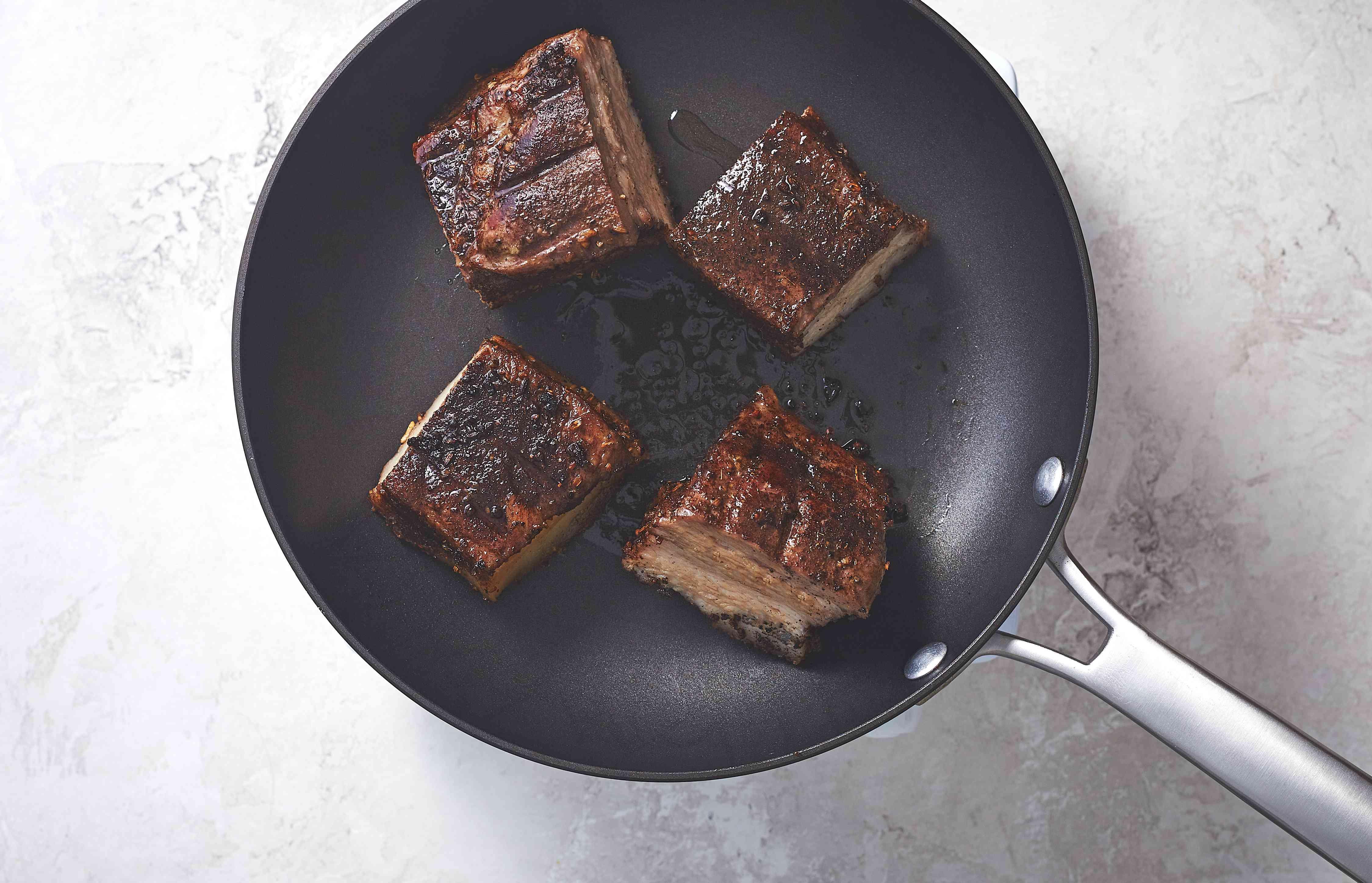 Braised Pork Belly in a pan