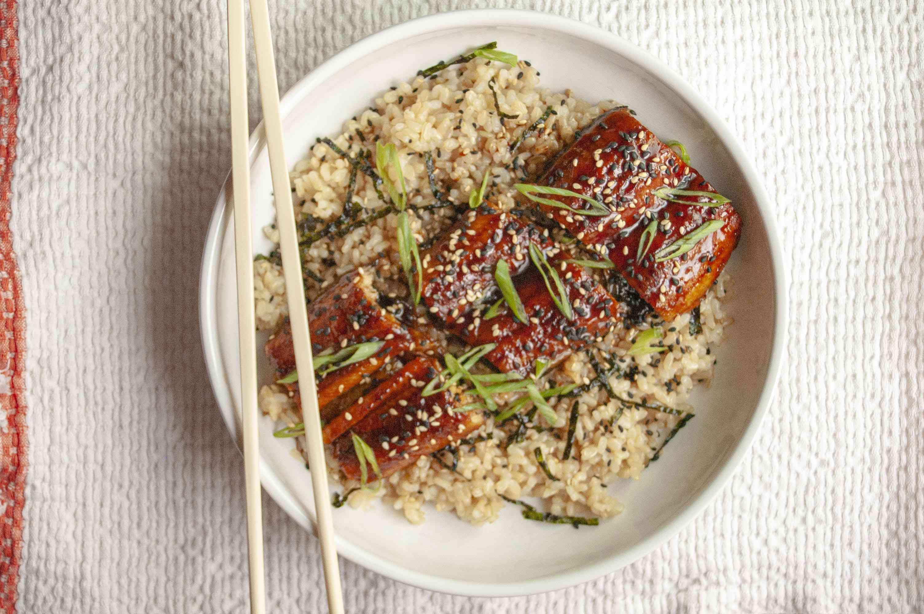 Eel with eel sauce on top of rice