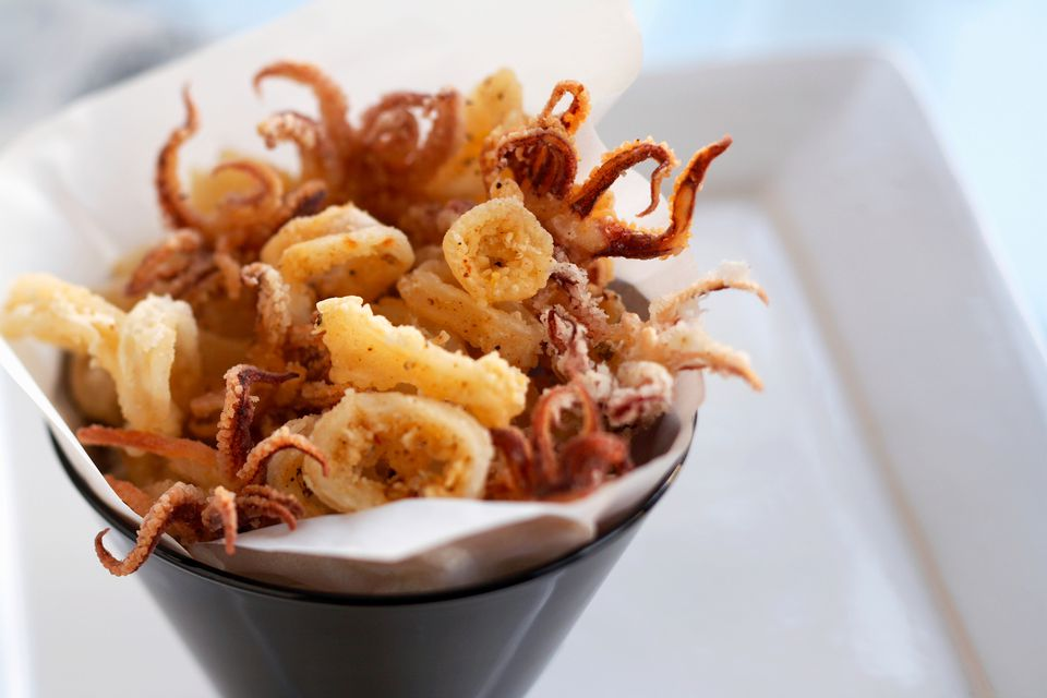 Close up of served fried calamari