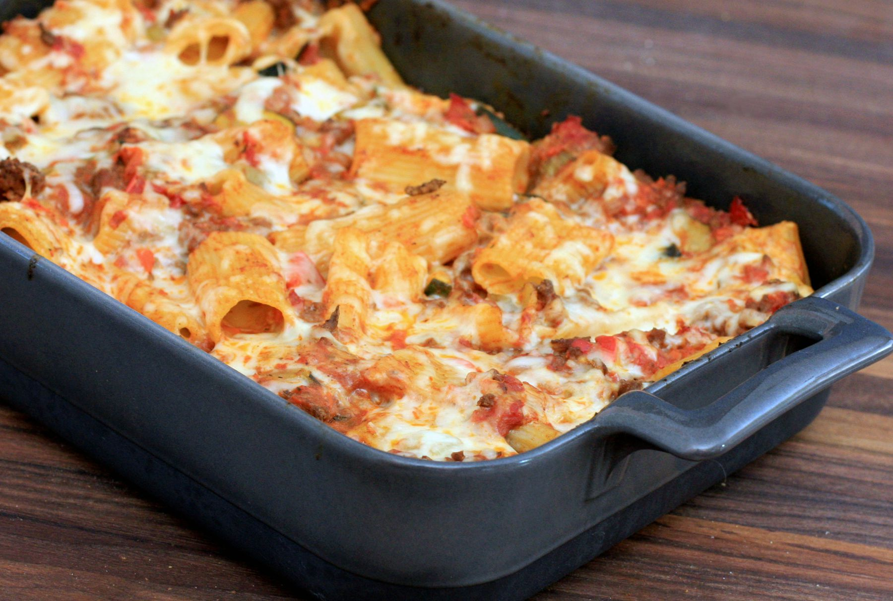 Dig Into This Cheesy Rigatoni Bake With Ground Beef and Vegetables