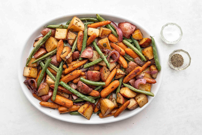 Balsamic Roasted Vegetables on a platter