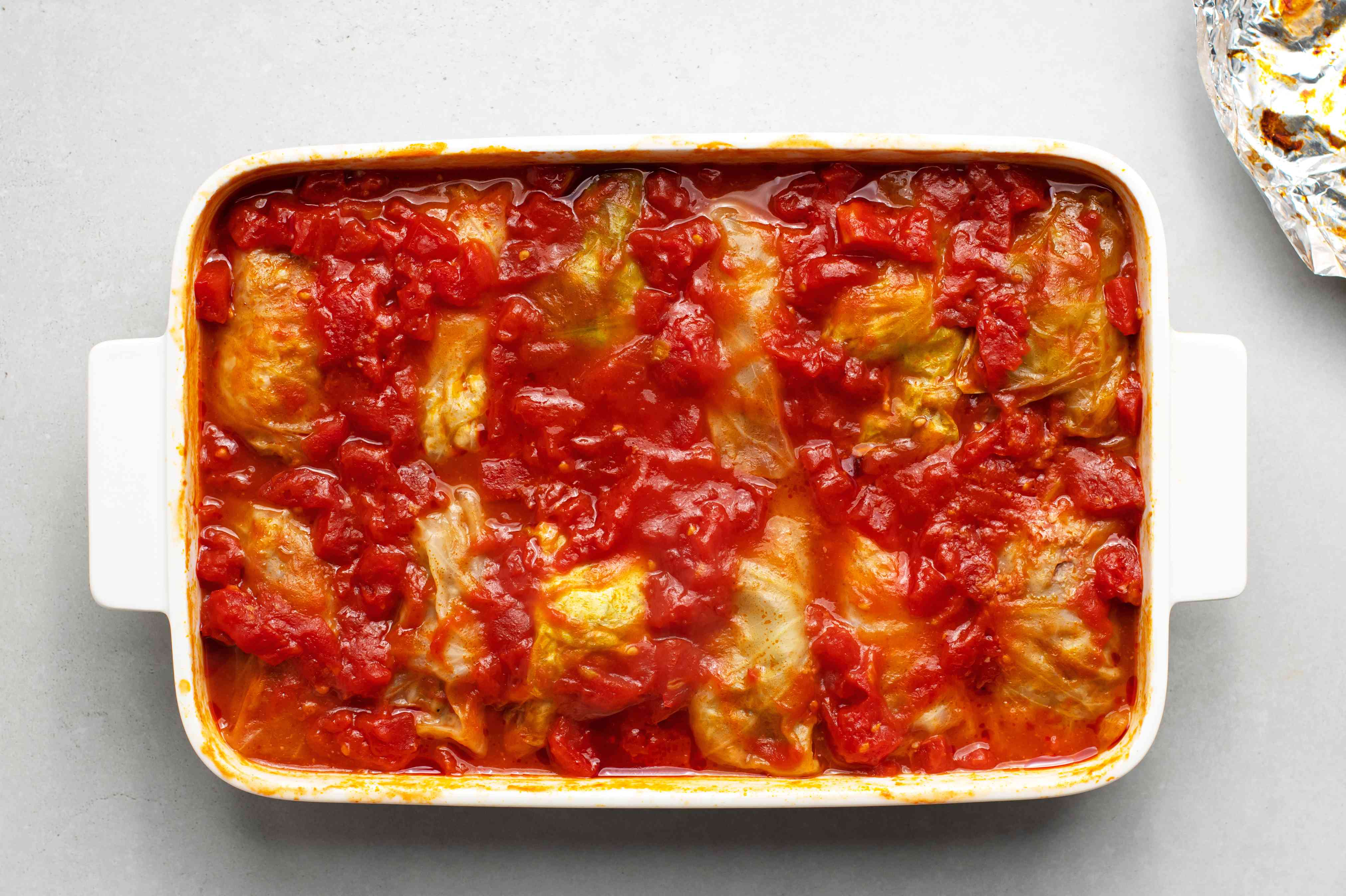 baked cabbage rolls in a baking dish