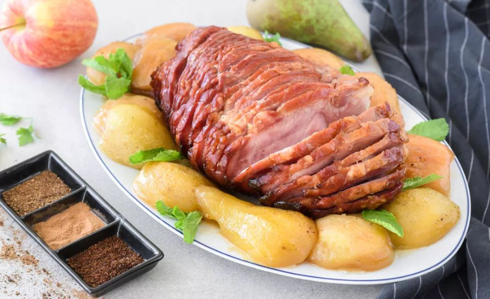 French Baked Ham With Spiced Apples and Pears