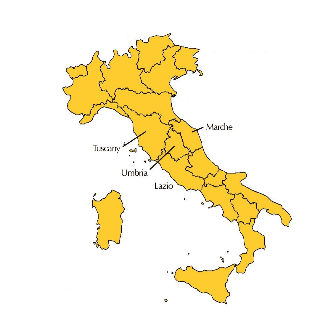 The four regions of Central Italy
