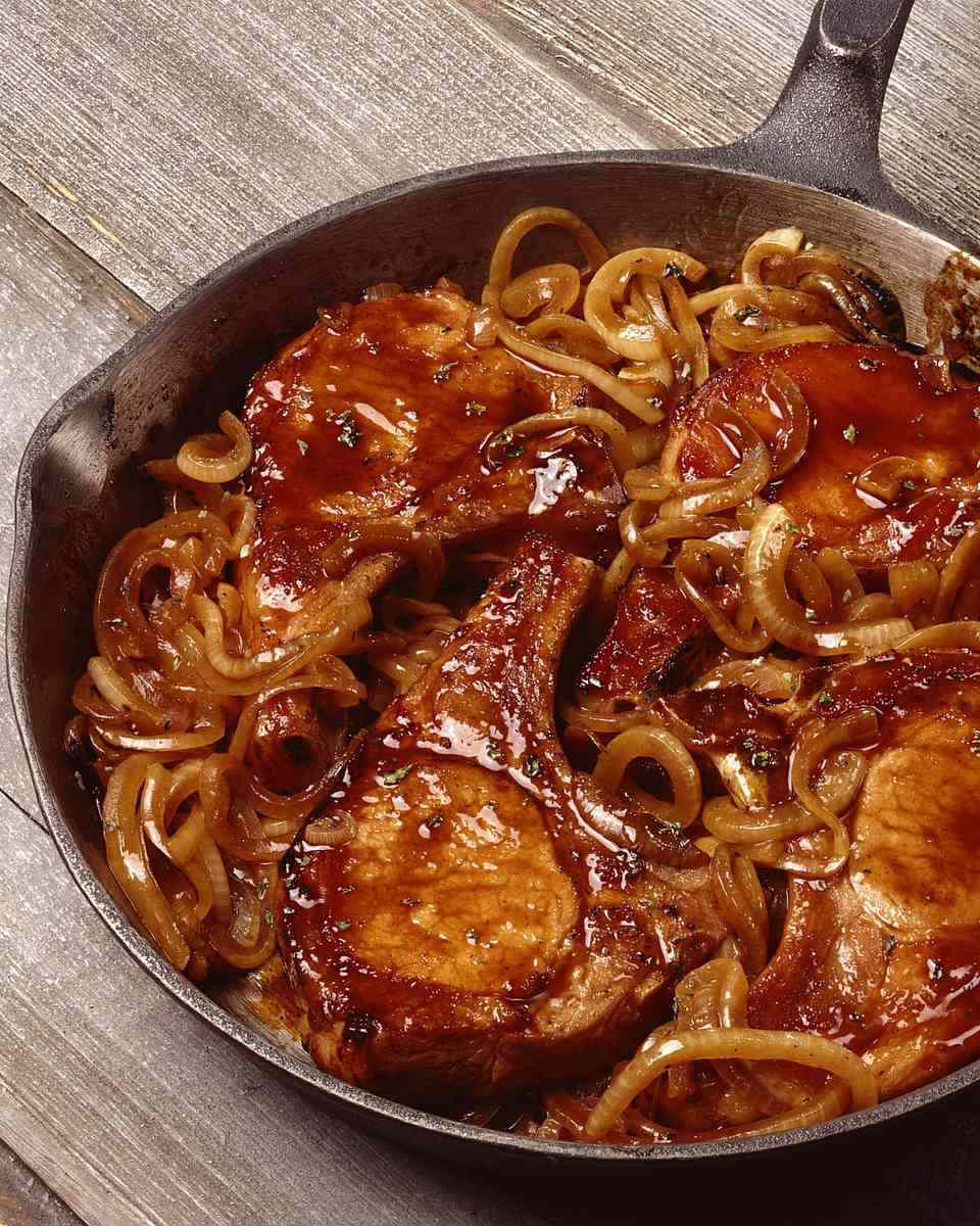 Brined Pork Chops With Caramelized Onions