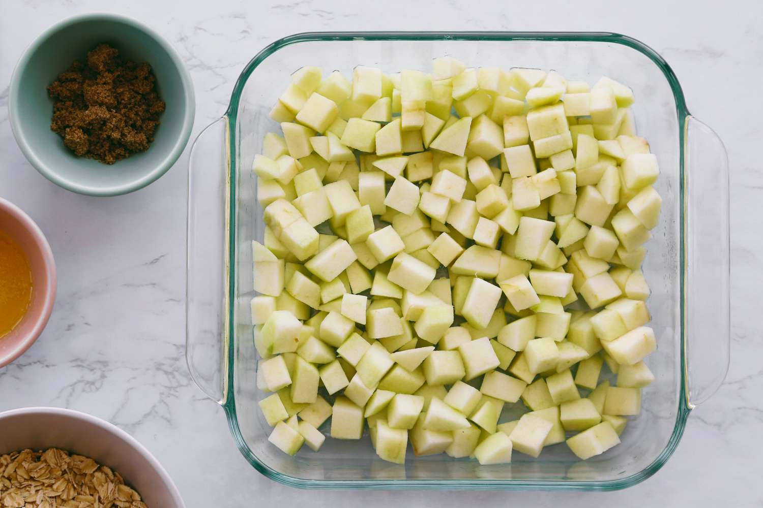 apple pieces in a baking dish