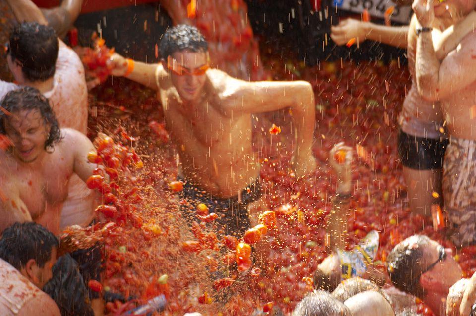 Tomato fight at La Tomatina tomato festival