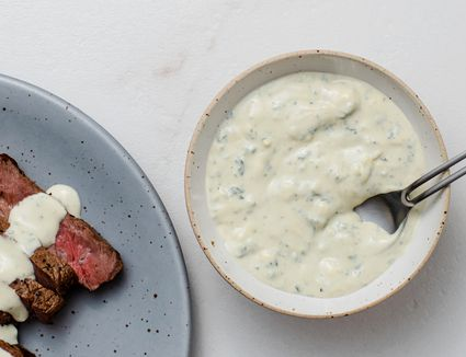 Blue cheese sauce recipe drizzled on steak