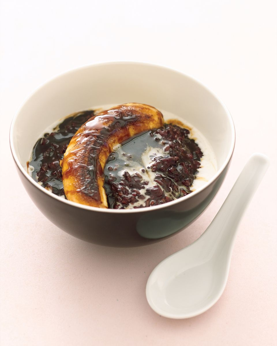 Black rice pudding with carmelized banana