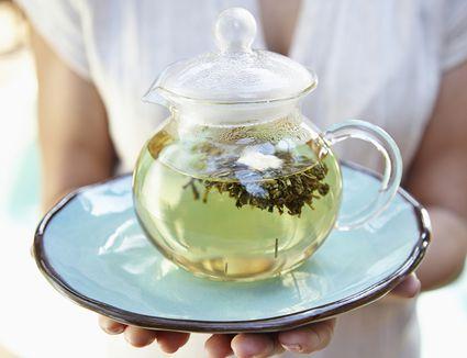 Pot of green tea