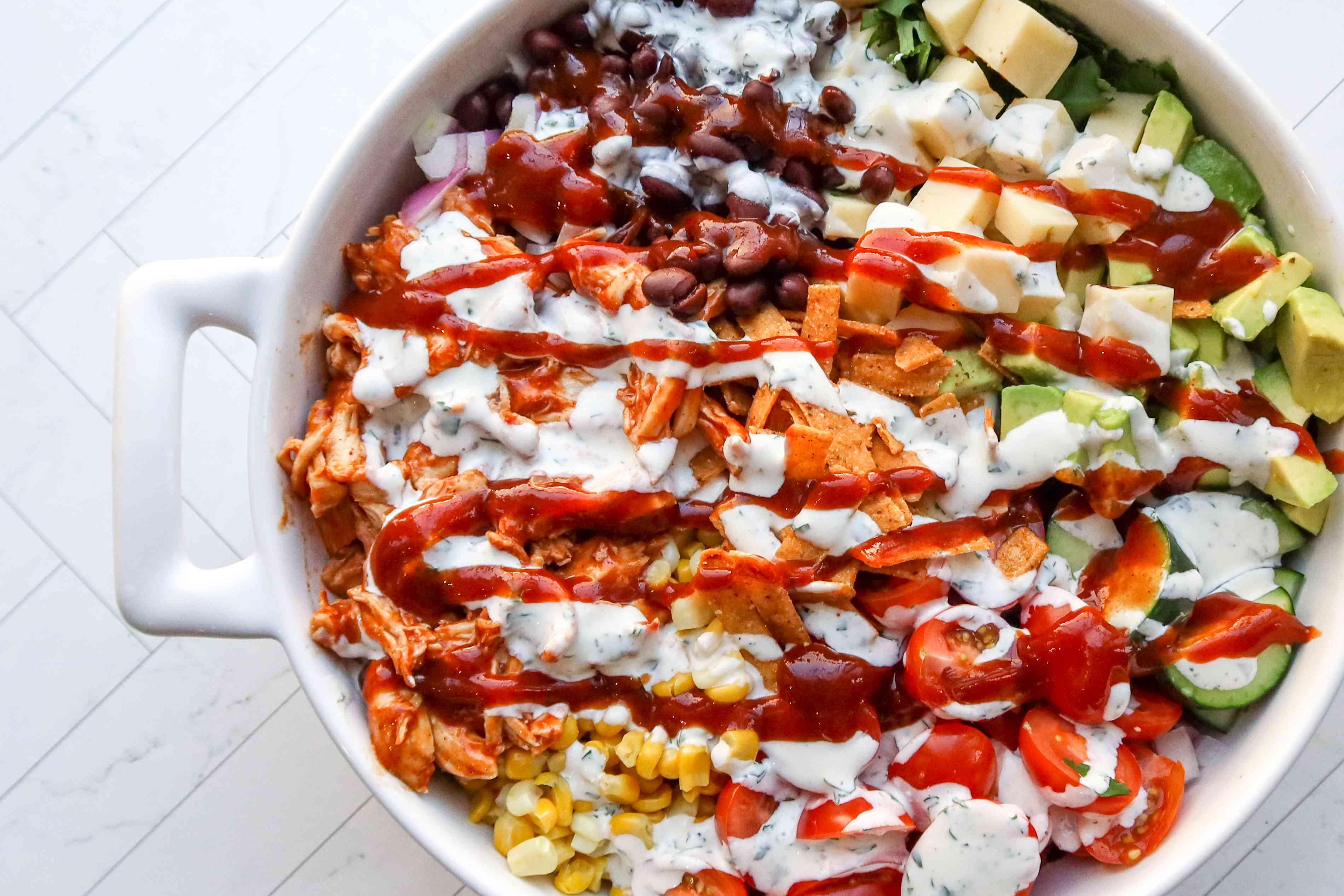 prepared bbq chicken salad