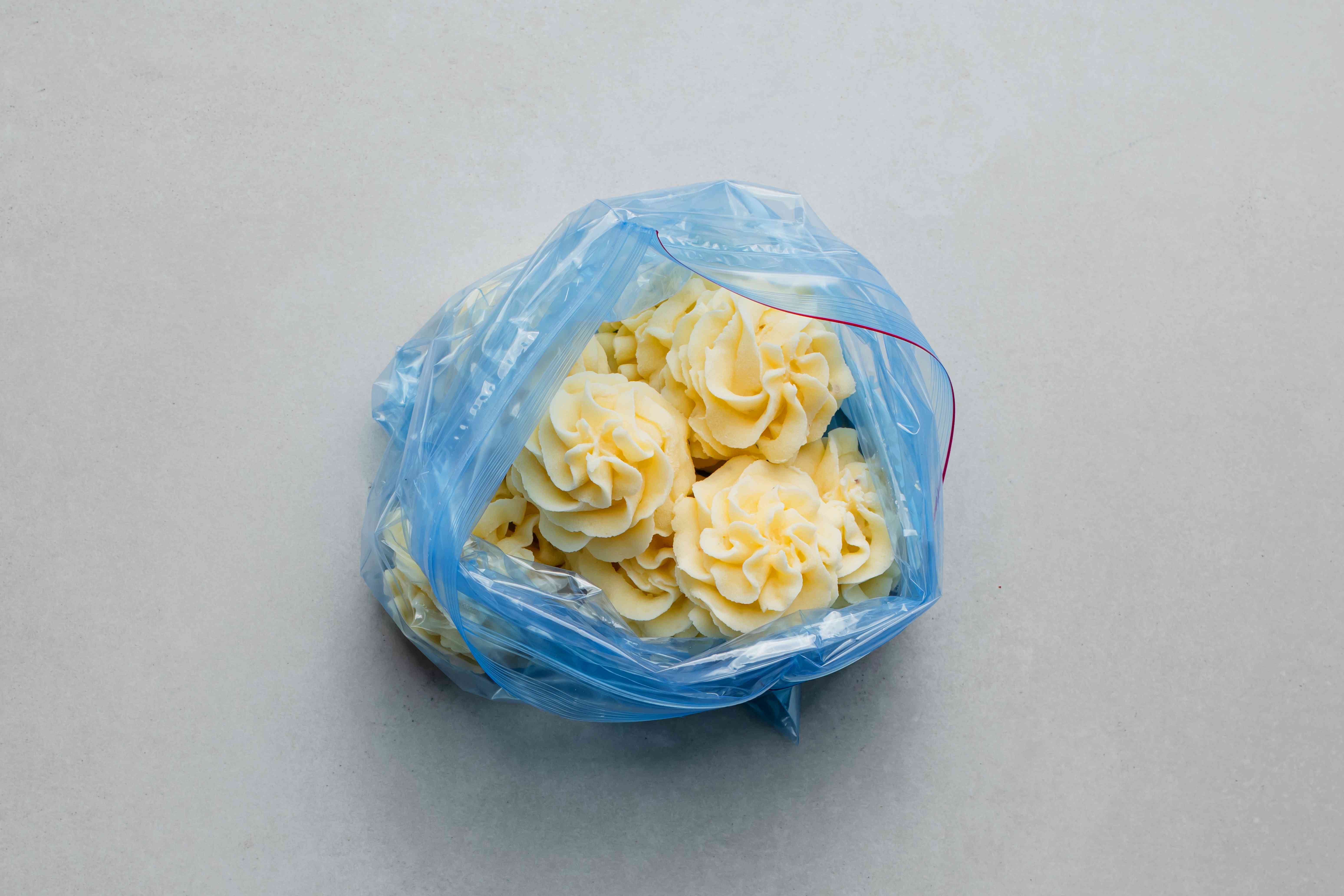 frozen potato portions in a plastic bag
