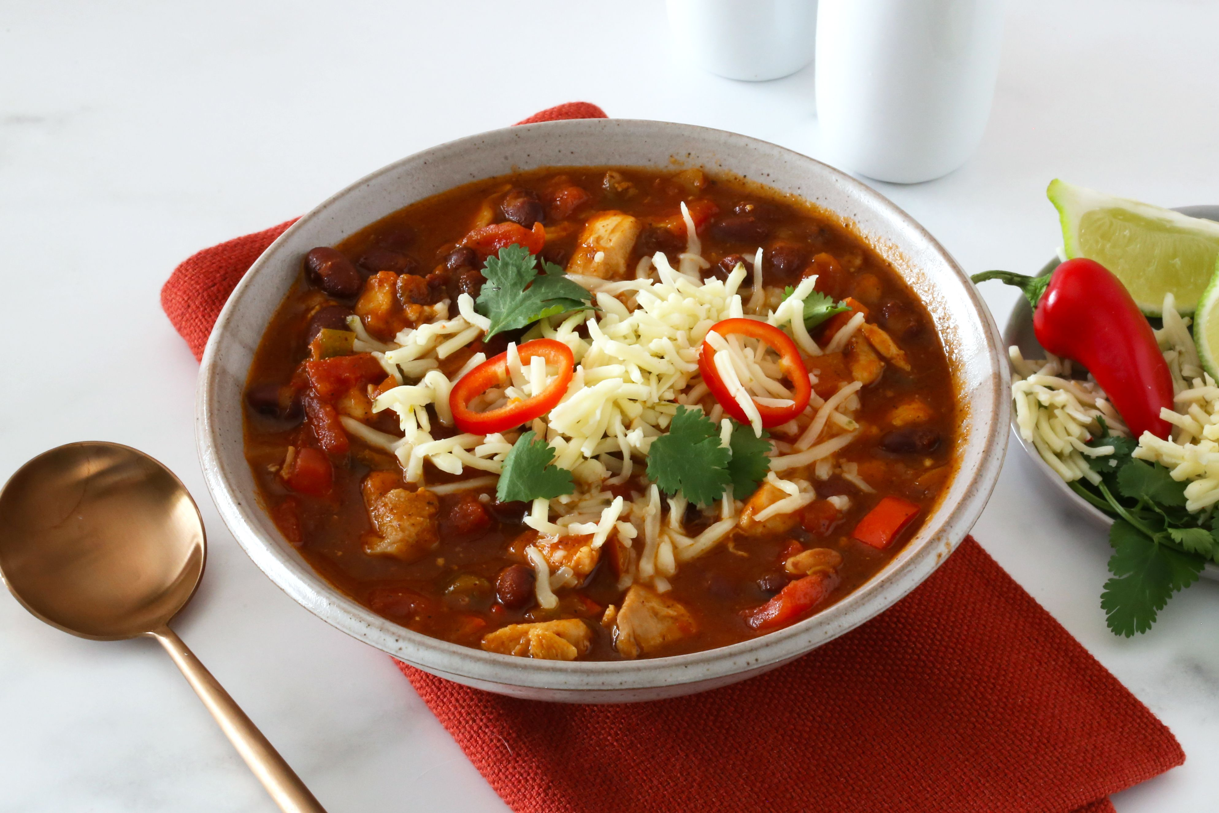 Chicken chili with red beans.