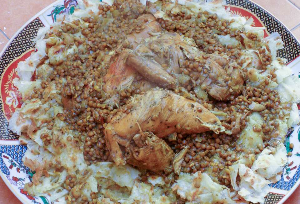 Moroccan Chicken Rfissa - Trid Pastry with Chicken, Lentils, and Fenugreek