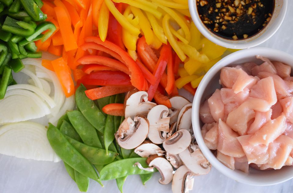 Raw ingredients for stir-fry