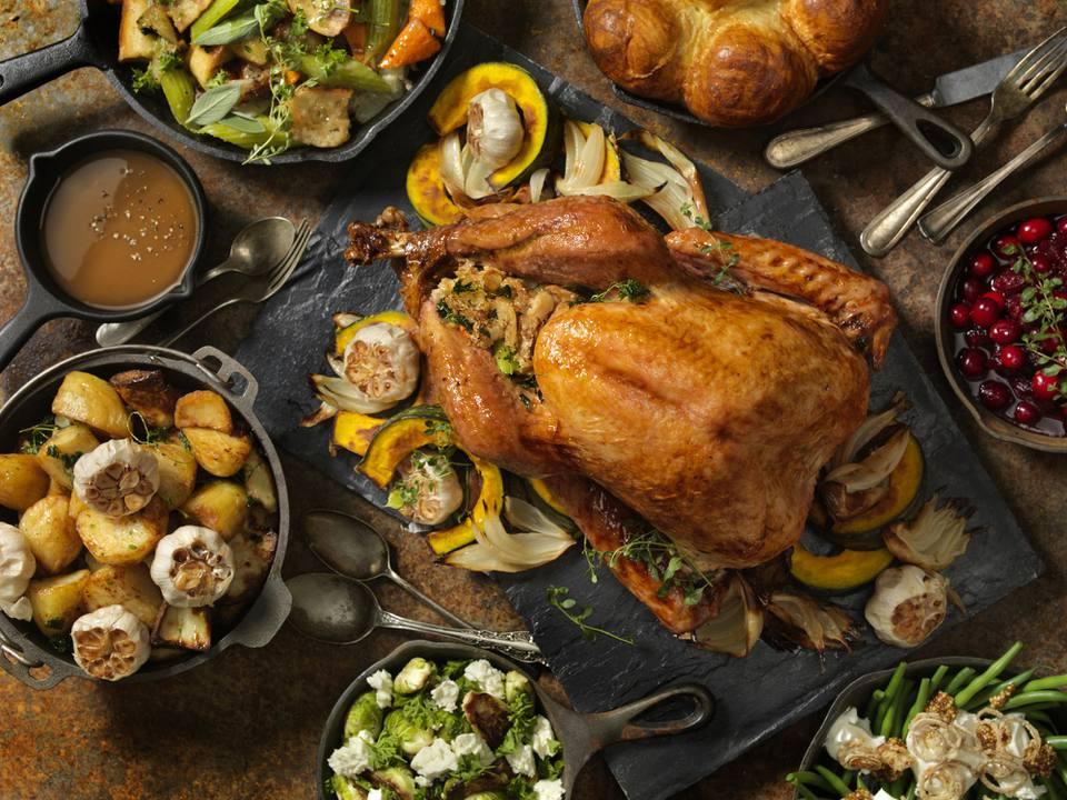 Roast turkey thanksgiving dinner