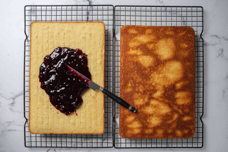 Jam spread on Lamington Cake