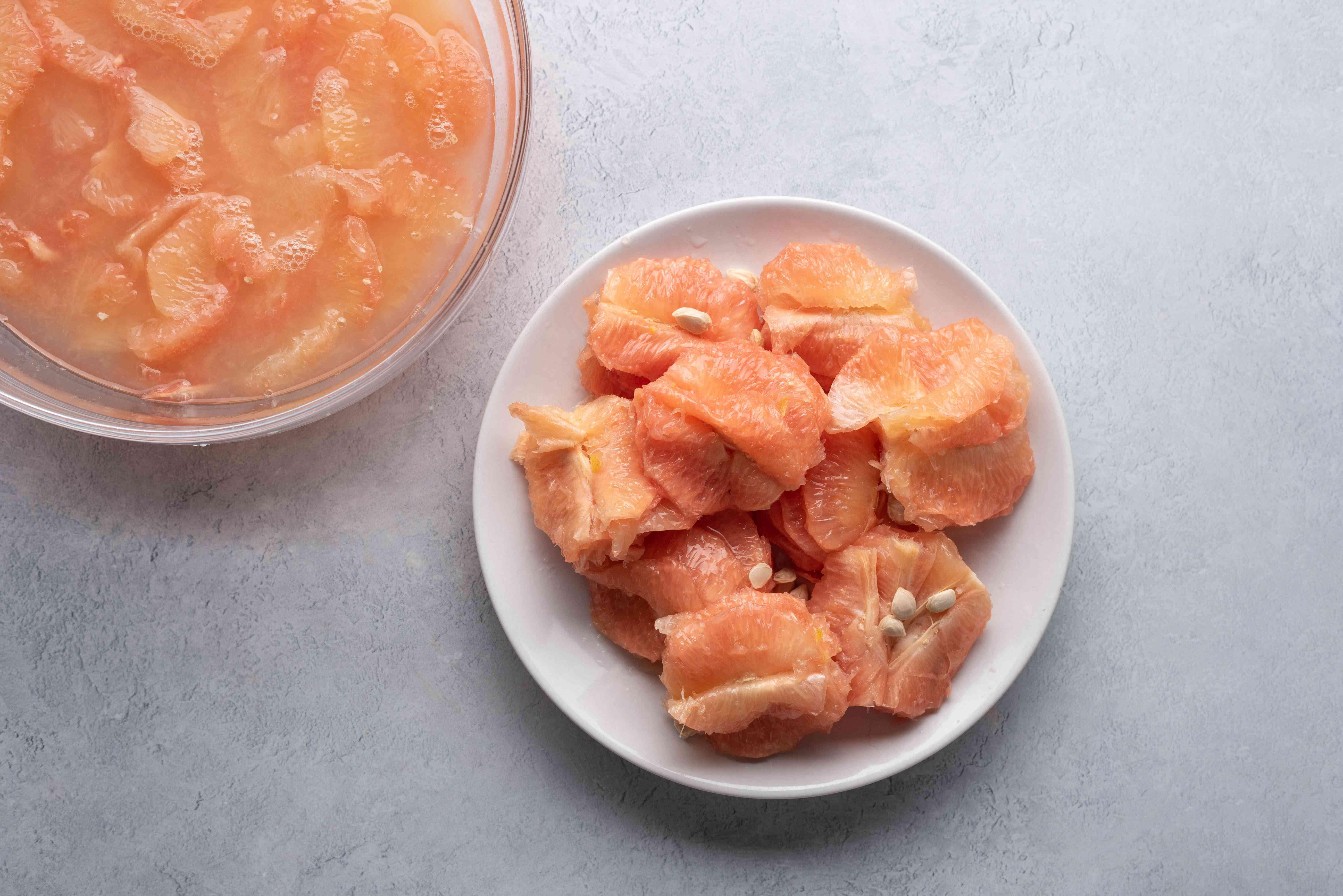 grapefruit membranes in a bowl