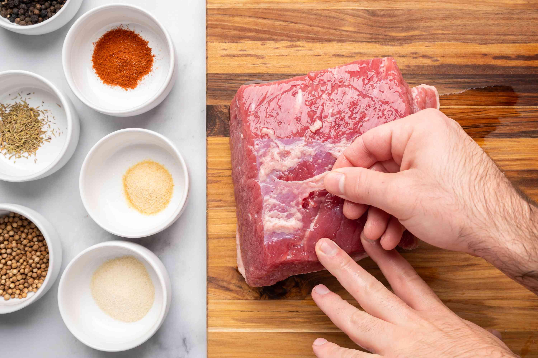 Remove membrane from brisket
