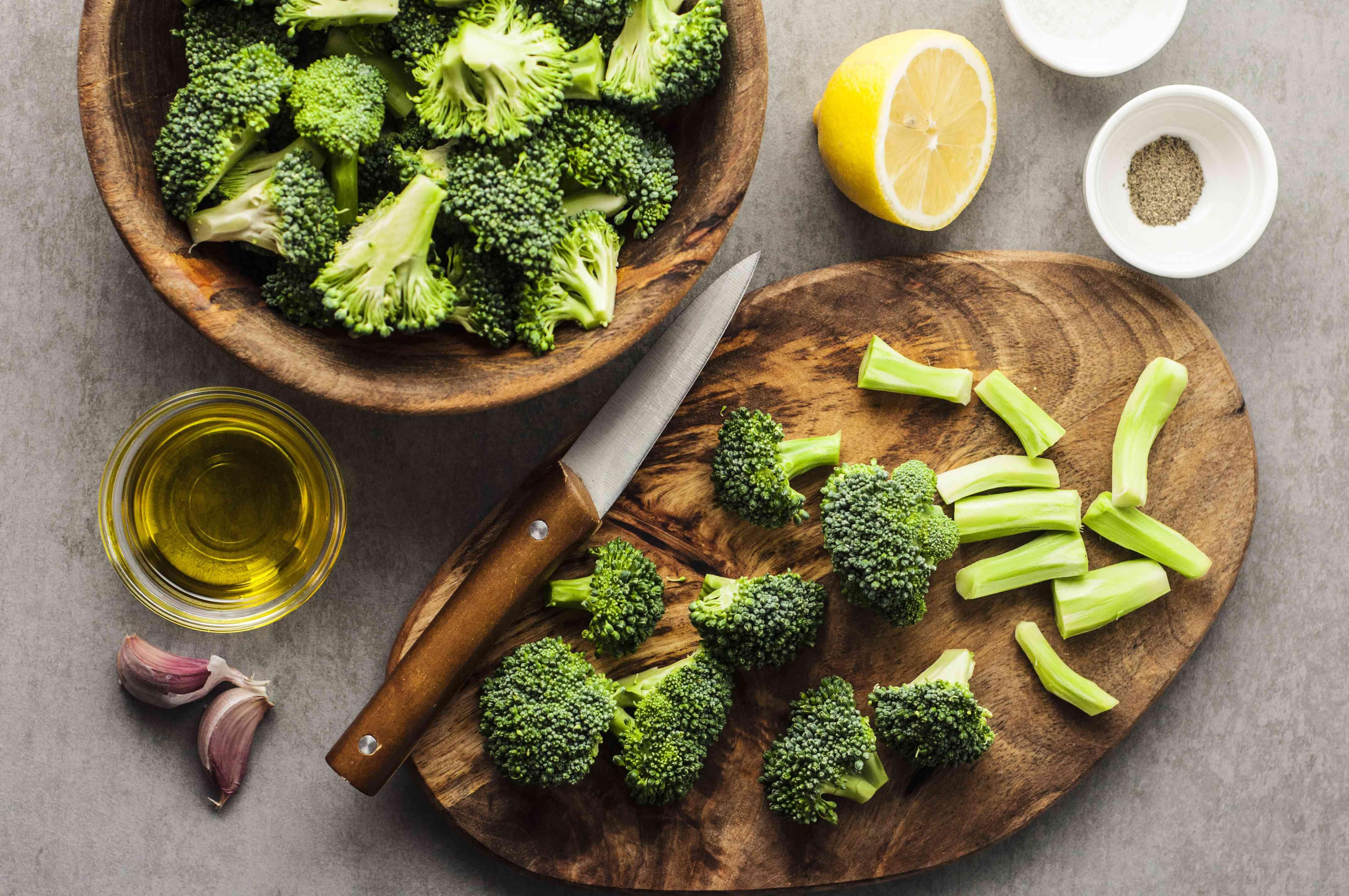 Chopped broccoli on cutting board