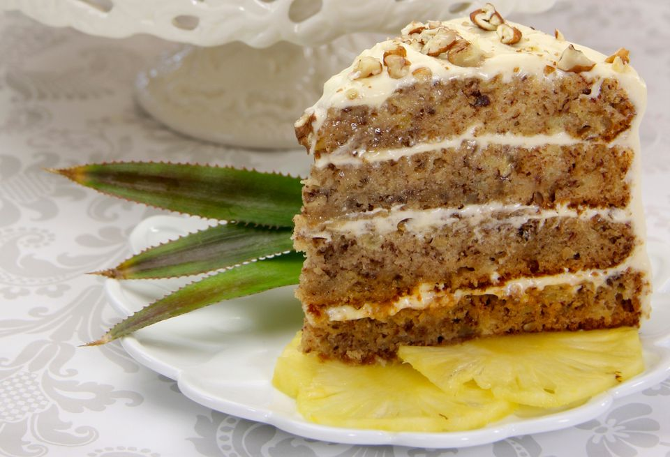 A slice of hummingbird cake