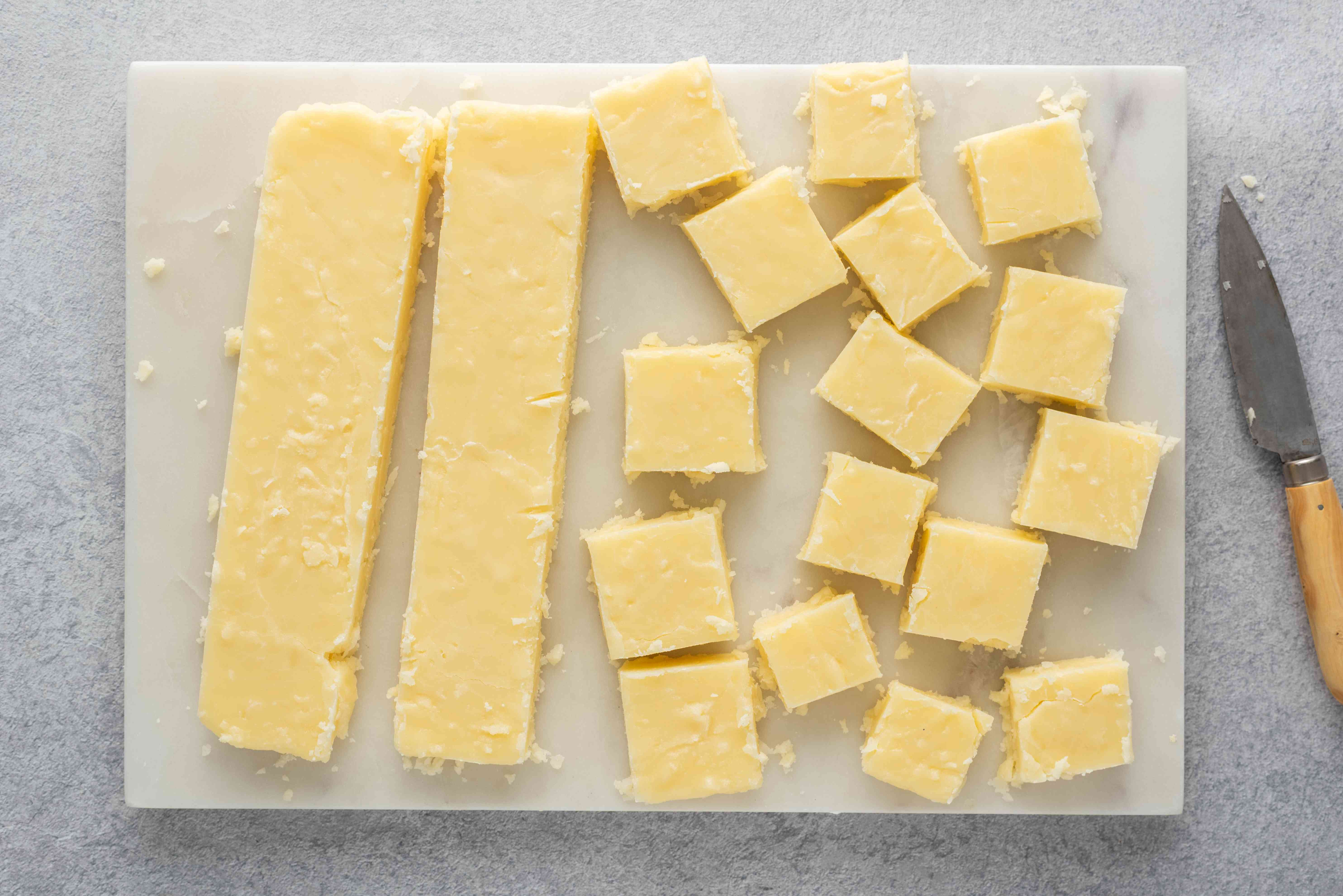 Old Fashioned Fudge With Shredded Coconut cut into small squares