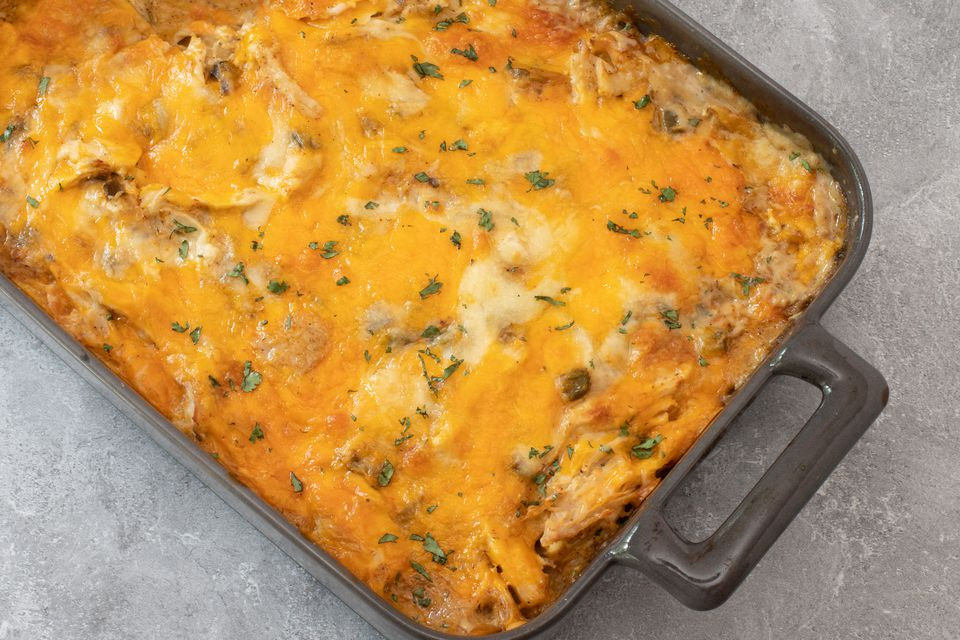 chicken, cheese, and tortilla casserole baked