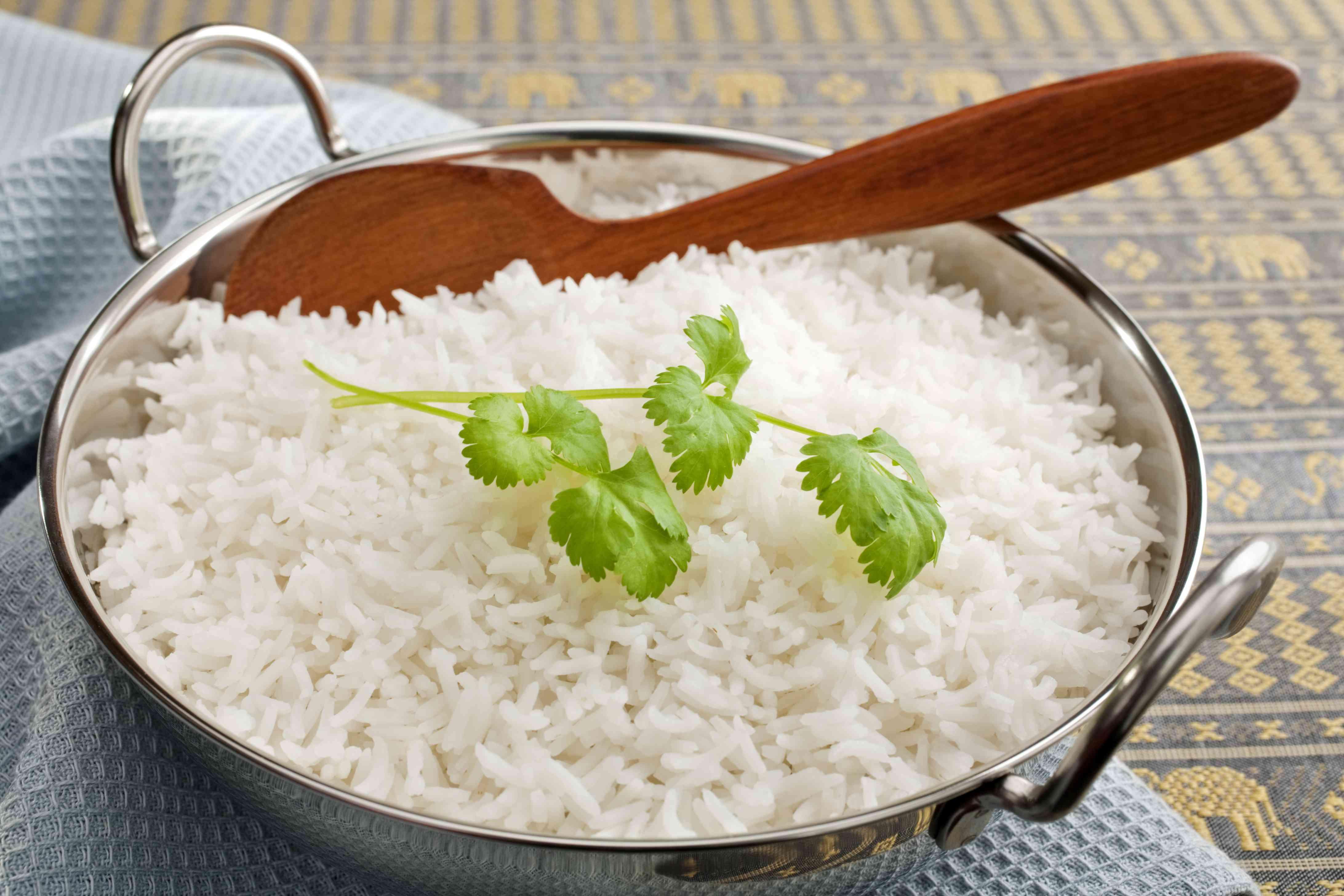 Basmati Rice with Coriander in a Balti Dish