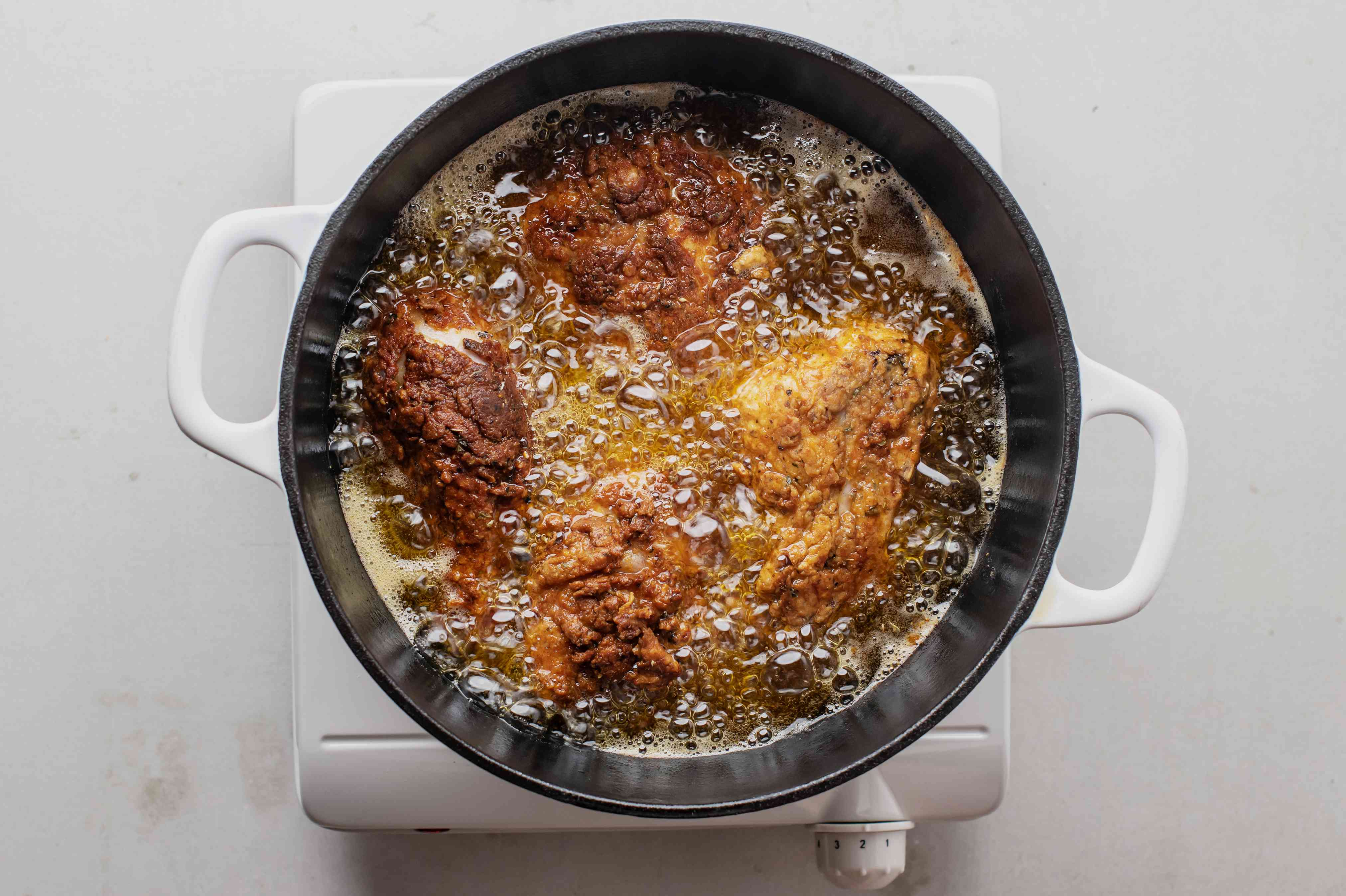Allow chicken to fry