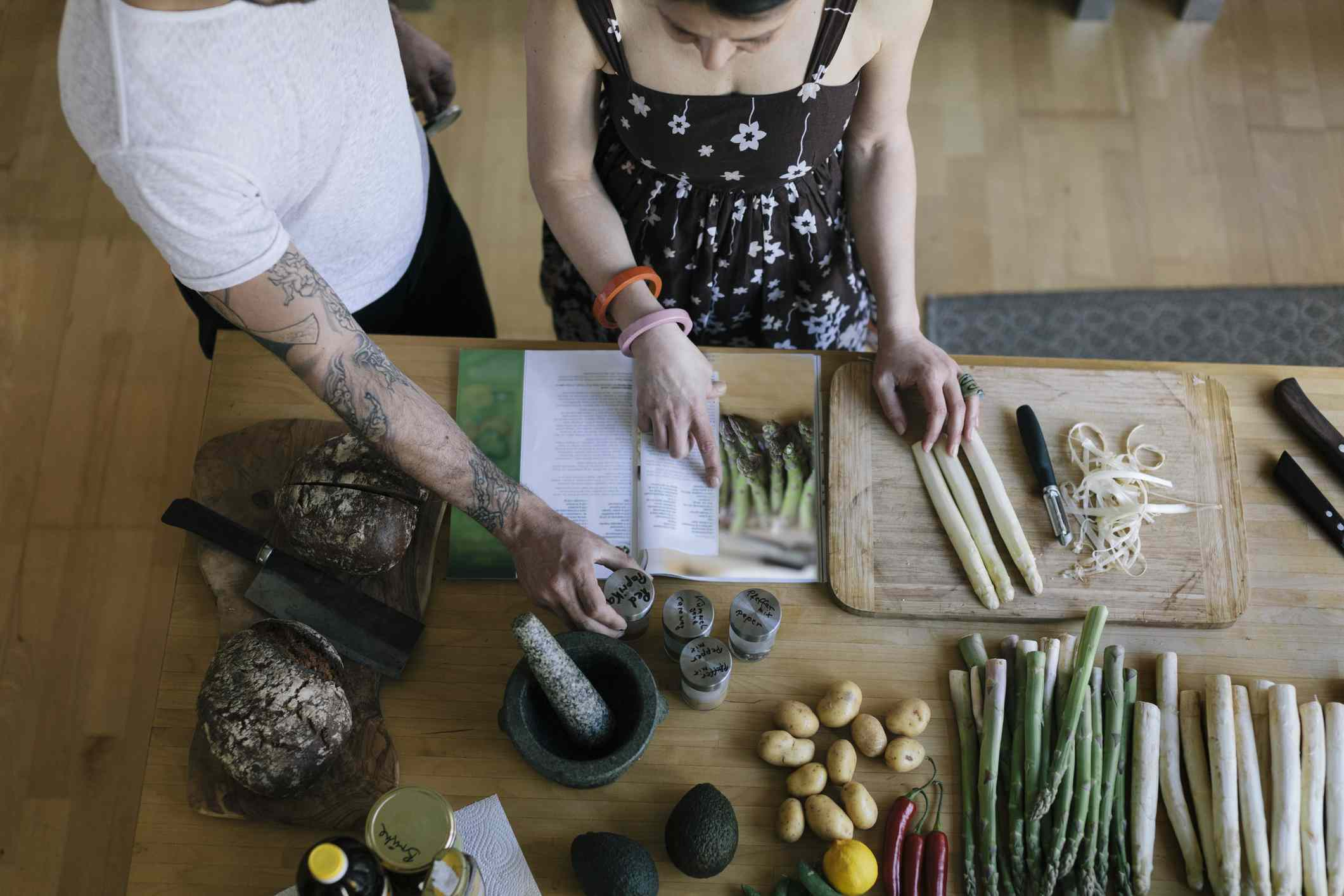 Couple reading food recipe