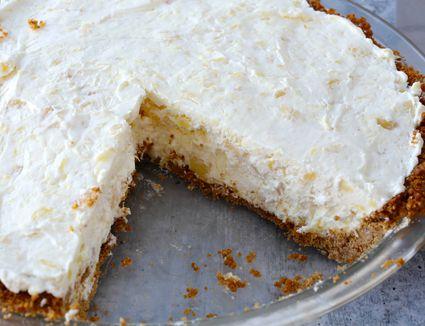 No bake pineapple cream cheese pie.