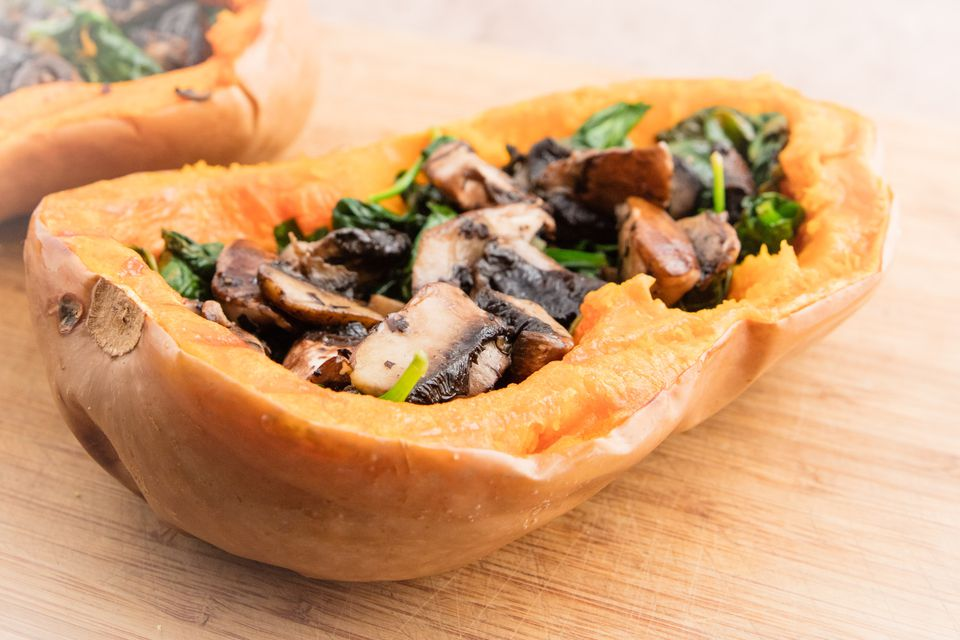 Butternut pumpkin stuffed with mushroom and spinach.