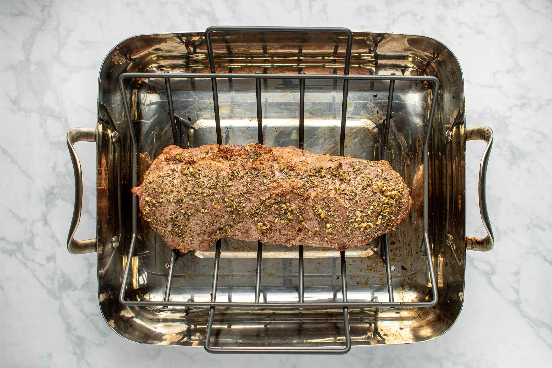 beef roast in the roasting pan