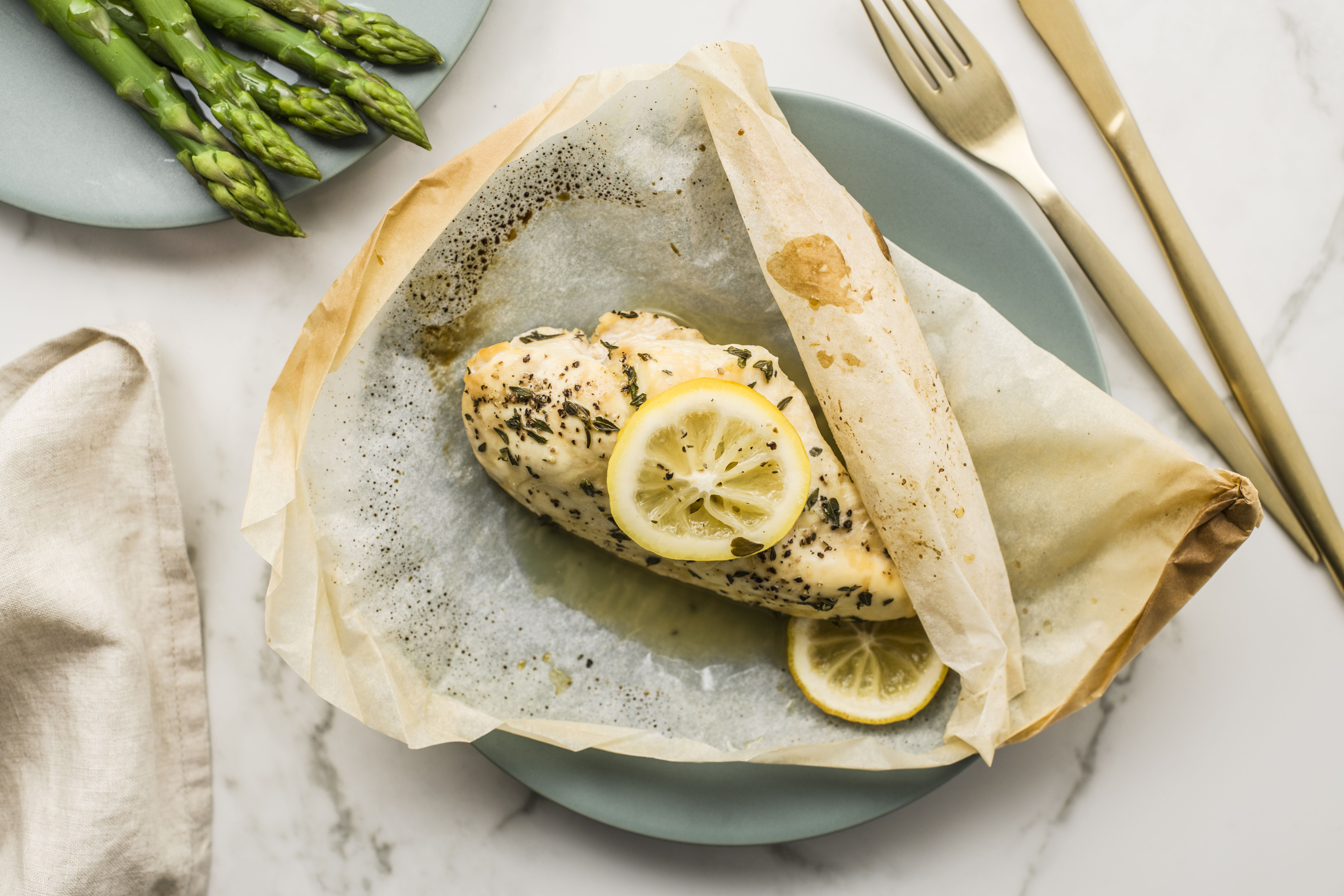 Chicken breasts in parchment paper