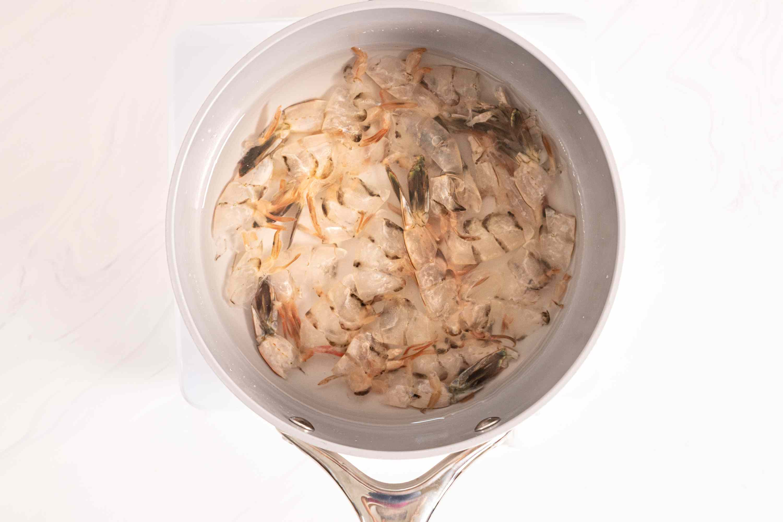 shrimp shells in a saucepan