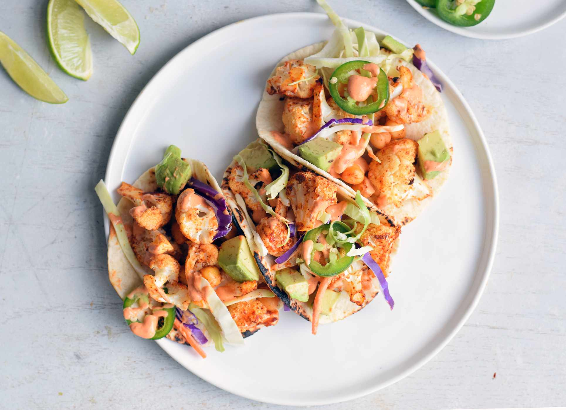cauliflower tacos served on a plate