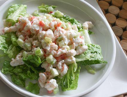 shrimp salad on a bed of lettuce