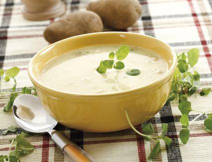 Potato soup in a soup bowl