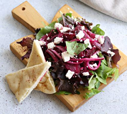 Roasted Beet and Feta Cheese Salad With Sumac Dressing