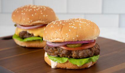 air fryer hamburger and a cheeseburger