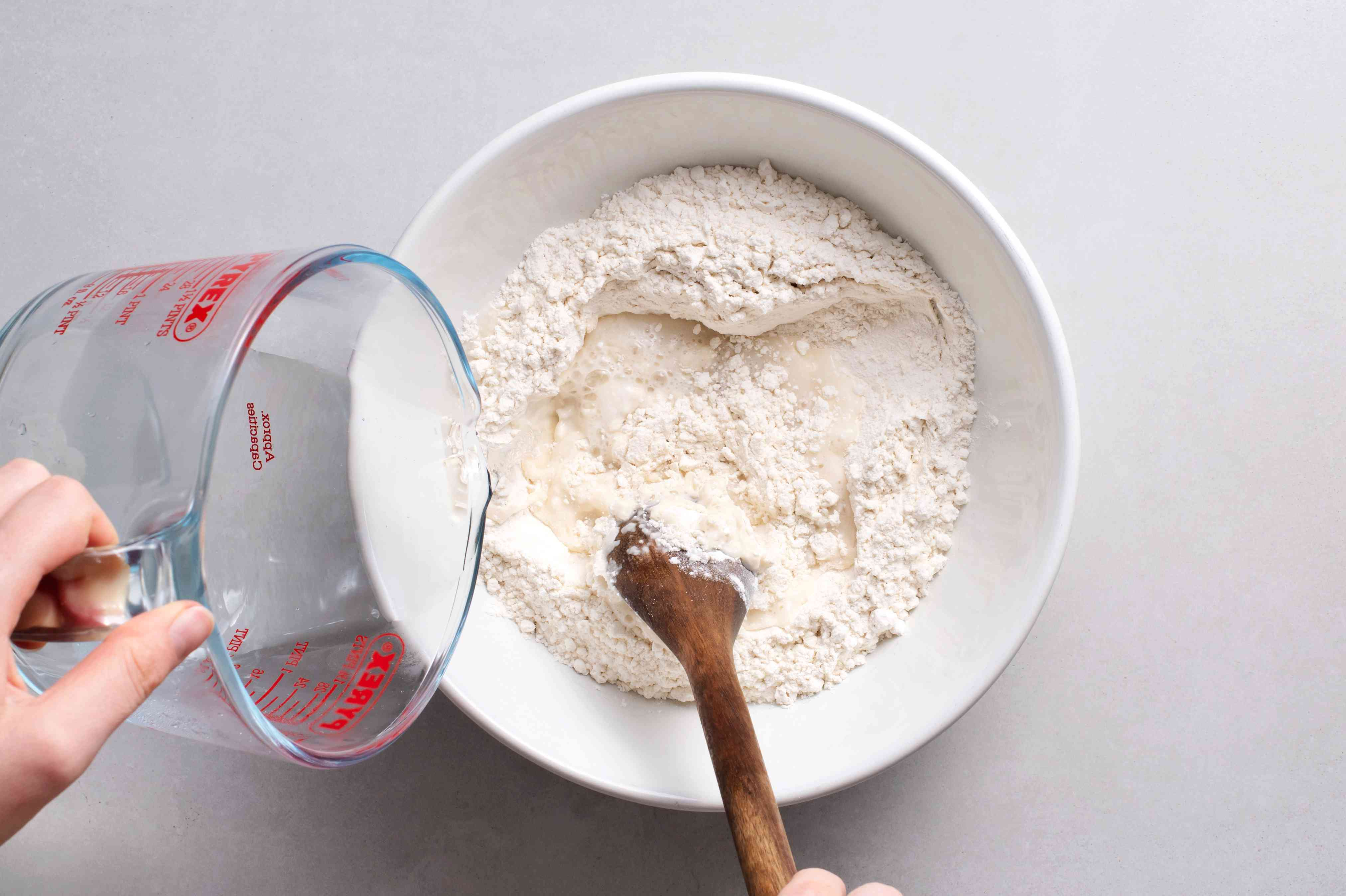 flour and water in a bowl