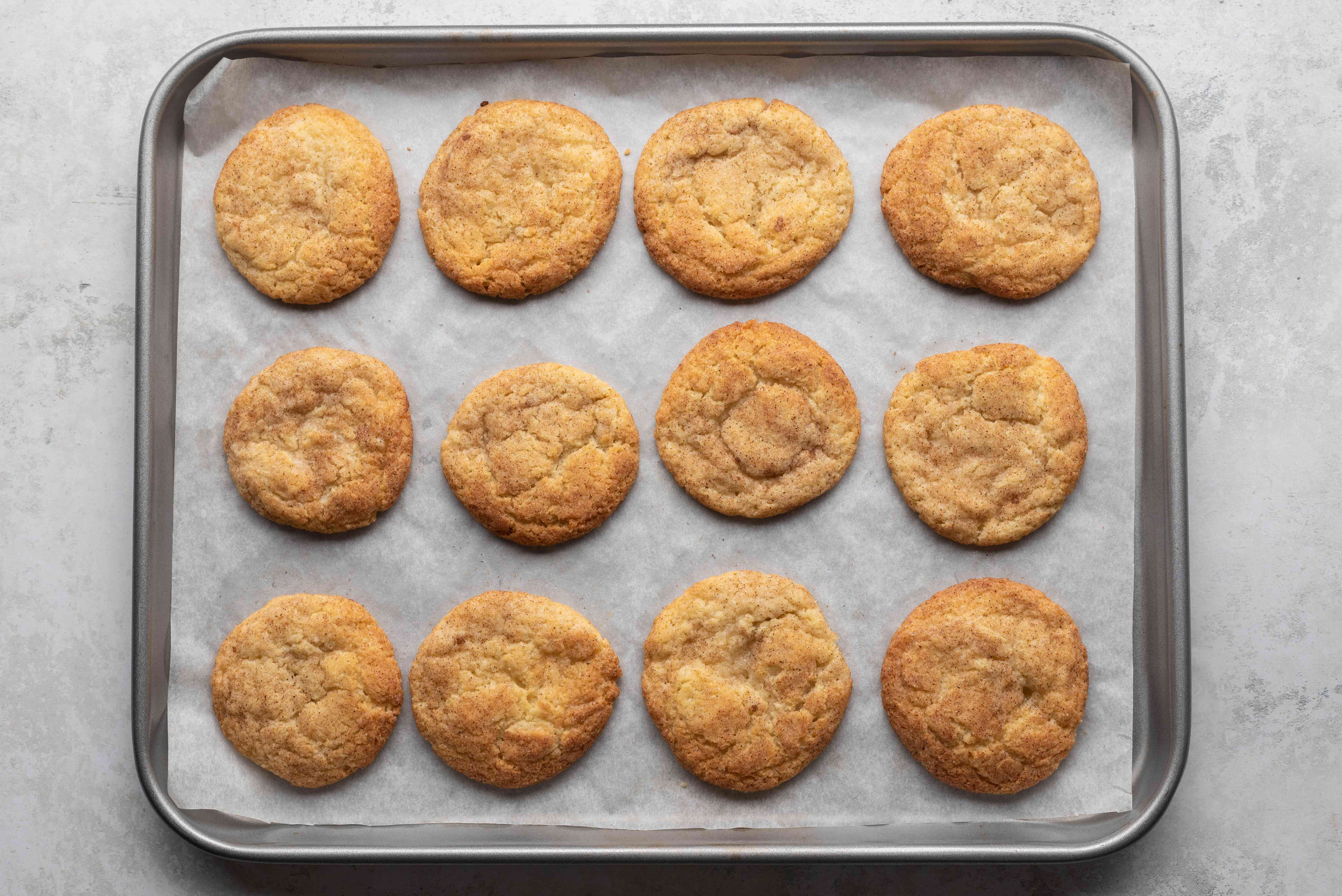 Snickerdoodle Cookies on a baking sheet