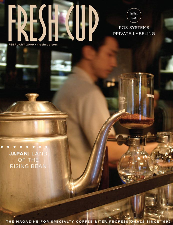 A Fresh Cup Magazine cover featuring an image of coffee in Japan