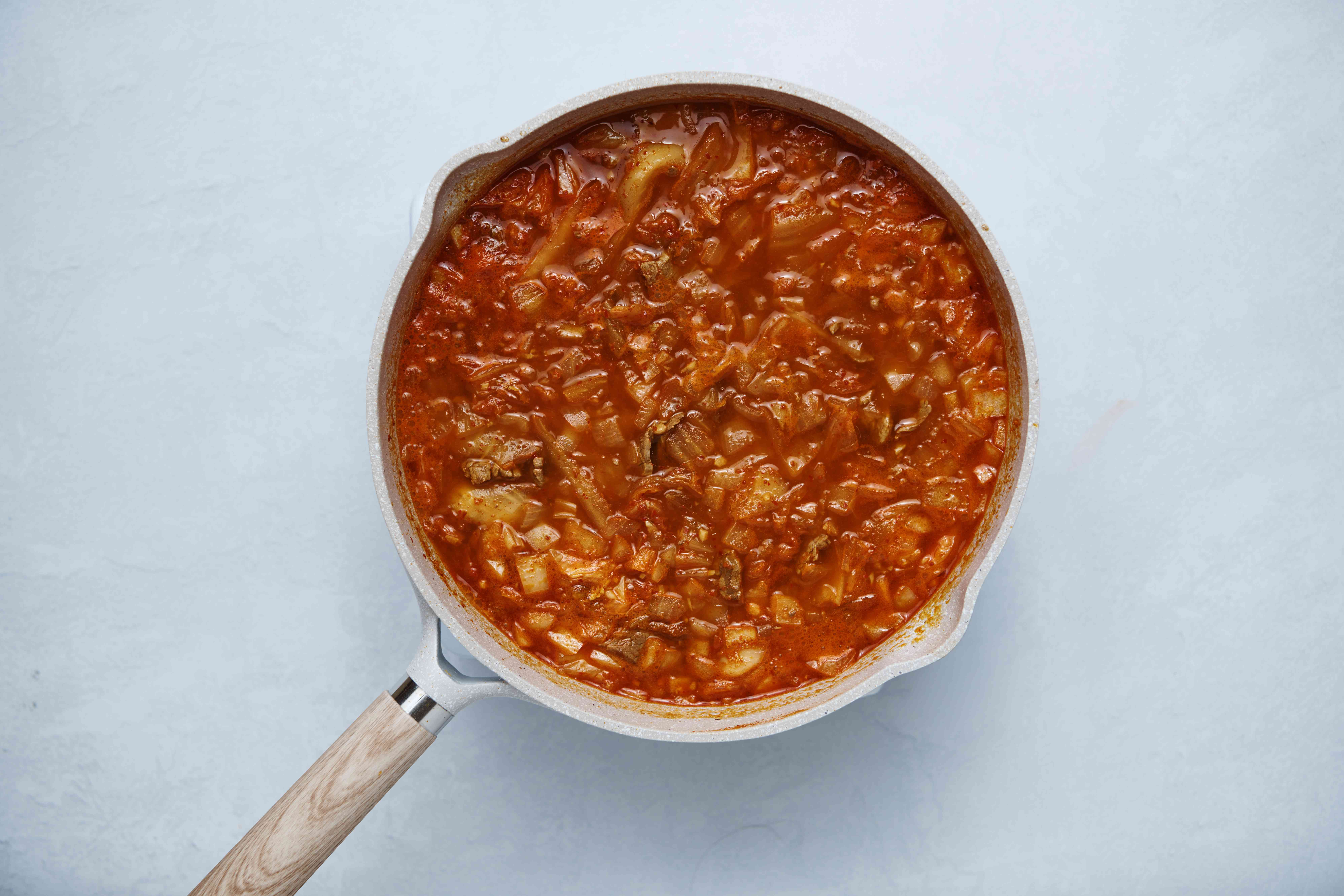 kimchi stew cooking in a pot