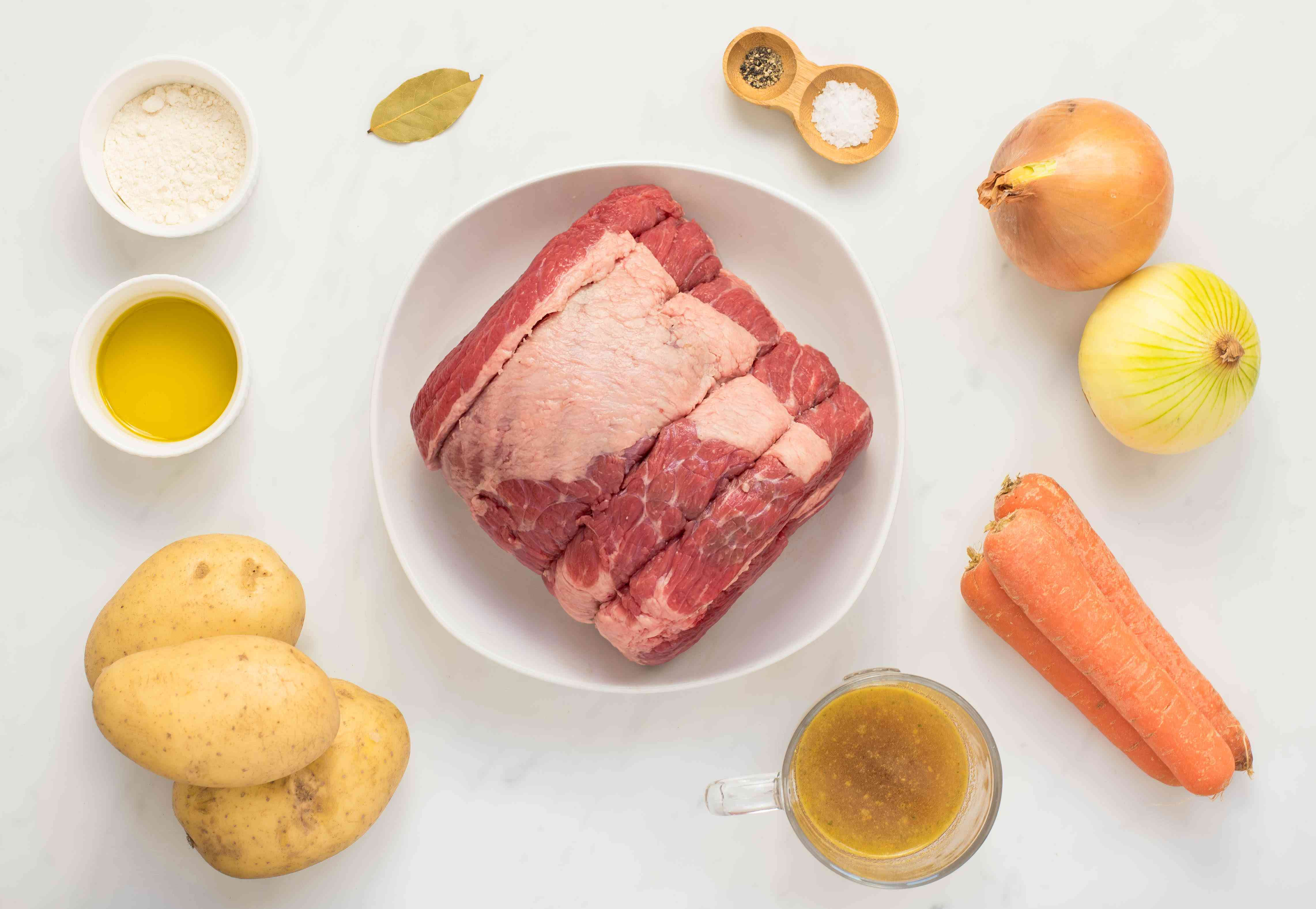 Ingredients for pot roast in the slow cooker