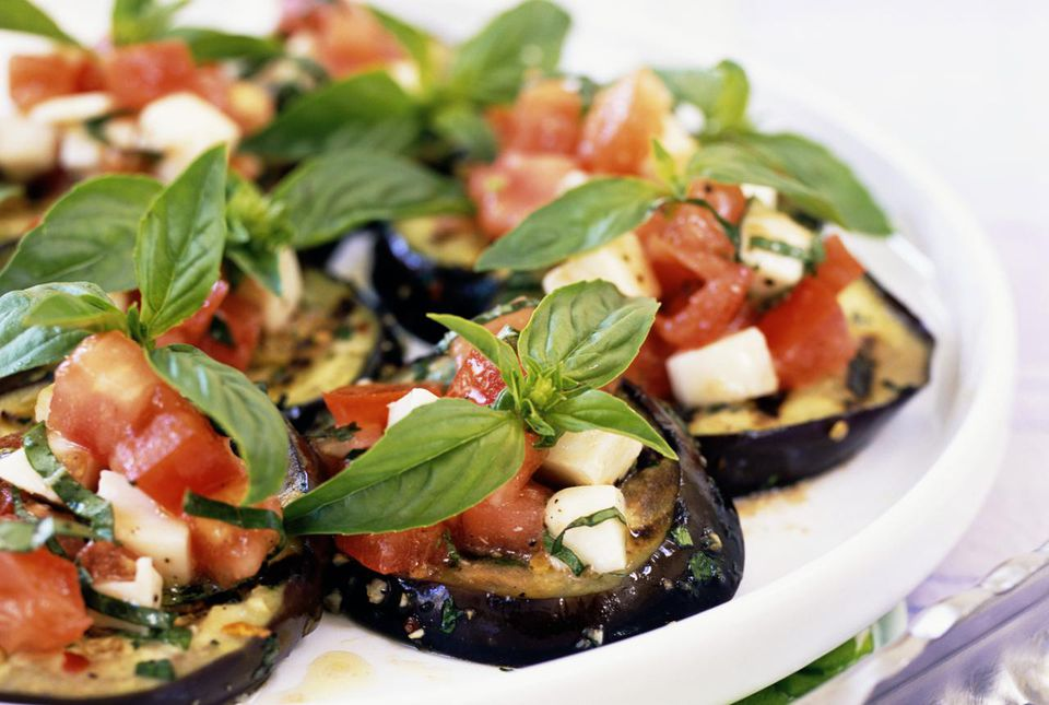 Eggplant with tomato vinaigrette recipe