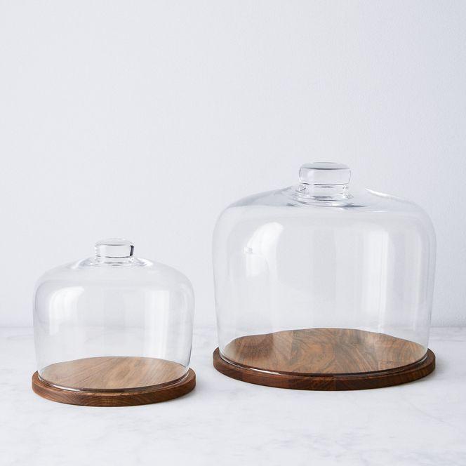 LSA Hand-Blown Glass Cloche and Walnut Base